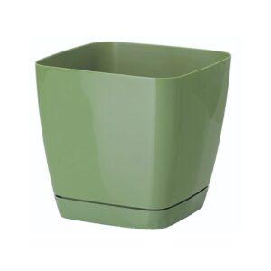 Γλάστρα Toscana square με ενσωματωμένο πιάτο (χρώμα Pastel green)
