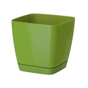 Γλάστρα Toscana square με ενσωματωμένο πιάτο (χρώμα Olive green)