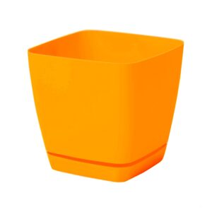 Γλάστρα Toscana square με ενσωματωμένο πιάτο (χρώμα Orange)