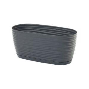 Ζαρτινιέρα Sahara petit box με ενσωματωμένο πιάτο (χρώμα Anthracite)