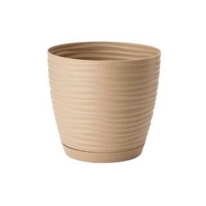 Γλάστρα Sahara petit round με ενσωματωμένο πιάτο (χρώμα Cafe latte)