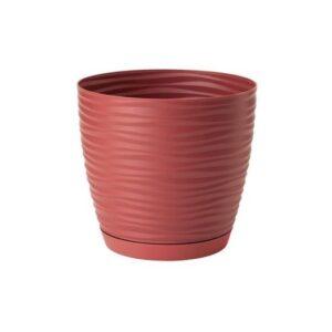 Γλάστρα Sahara petit round με ενσωματωμένο πιάτο (χρώμα Marsala)