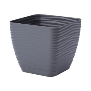 Γλάστρα Sahara petit square με ενσωματωμένο πιάτο (χρώμα Anthracite)