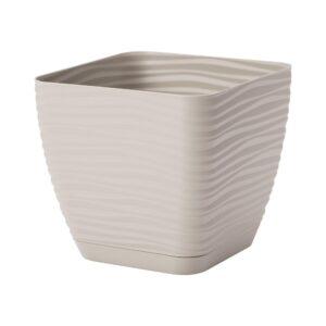 Γλάστρα Sahara petit square με ενσωματωμένο πιάτο (χρώμα Light grey)