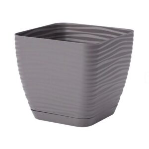 Γλάστρα Sahara petit square με ενσωματωμένο πιάτο (χρώμα Stone)