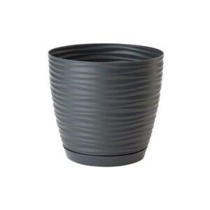 Γλάστρα Sahara petit round με ενσωματωμένο πιάτο (χρώμα Stone)